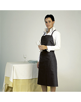 delantal con peto + 1 bolsillo 75x90 cm negro poliÉster (1 unid.)