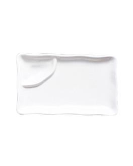 platos rectangulares 1 compartimento 25,5 cm blanco porcelana (6 unid.)