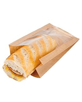 sachets avec fenÊtre 'pack delicatessen' 50 g/m2 + 15 pp 16x11+5x21 cm naturel kraft (100 unitÉ)