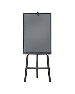 caballete + pizarra 60x148 cm negro madera (1 unid.)