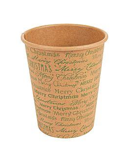 vasos bebidas calientes 1 pared 'merry christmas' 240 ml 280 + 18pe g/m2 Ø7,9x9,2 cm natural kraft (1000 unid.)