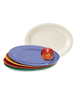 assiettes ovales 25,5x18 cm noir melanine (15 unitÉ)