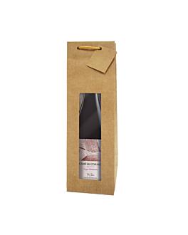 10 u. bolsas porta botellas con ventana 350 g/m2 9,2+8,8x38 cm natural kraft (1 unid.)