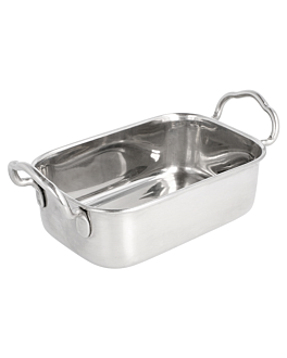 mini pans with handles 14,5x9,5x4,5 cm silver stainless steel (6 unit)