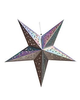 estrellas colgantes Ø 90 cm plateado papel (10 unid.)