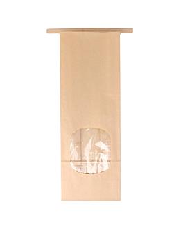 sacchetti sos con chiusura con finestra 60 g/m2 + 25µ opp 9+6x25 cm naturale kraft (500 unitÀ)