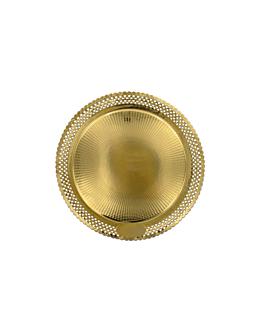 assiettes dentelÉes 'erik' 1200 g/m2 + 300 g/m2 pp Ø 25 cm dore carton (100 unitÉ)