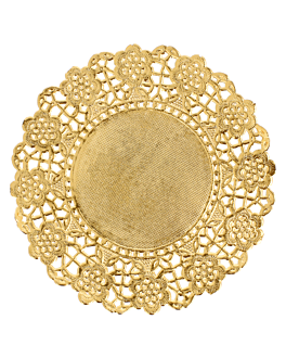 rundes zierdeckchen metallisiert 40 g/m2 + 20 g/m2 Ø 12 cm goldfarben lithographie metallisiert (100 einheit)