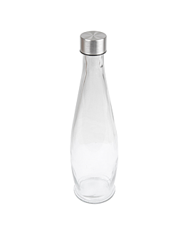 bottle + inox lid 930 ml Ø9x32 cm clear glass (24 unit)