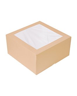 cake boxes with window 'thepack' 240 gsm + opp 24x24x12 cm natural nano-micro corrugated cardboard (100 unit)