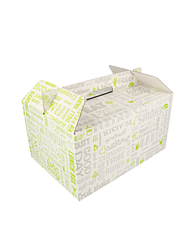 cases for take away meals - picnic 'parole' 28x20x15 cm white cardboard (100 unit)