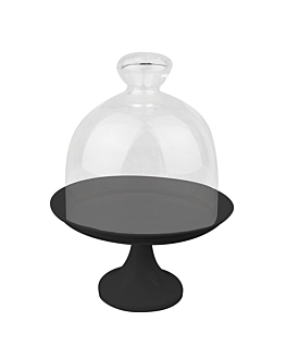 stand for cakes + glass cover Ø 24,5x30 cm black metal (1 unit)