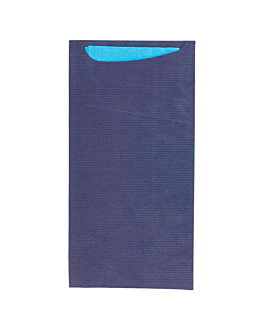 cutlery sachets + napkin 'just in time' 80 + 10pe gsm + (17gsm) 11,2x22,5 cm blue kraft ribbed (400 unit)