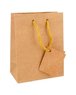 10 u. bolsas boutique, asa cordÓn 175 g/m2 11,4+6,4x14,6 cm natural kraft (1 unid.)