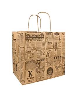 "sos bags with handles ""traiteur"" 'times' 80 gsm 26+17x24 cm natural kraft (250 unit)"