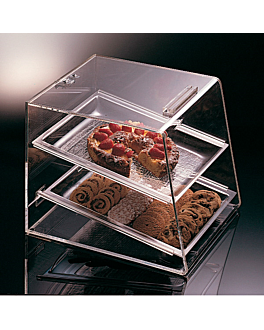 cake display 2 levels 35x42,5x44,5 cm clear acrylic (1 unit)