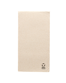 ecolabel napkins f. 1/8 'double point' 19 gsm 40x40 cm natural recycled tissu (1200 unit)