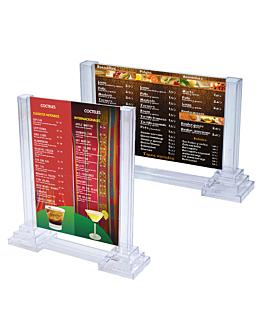 """porta menÚs """"columnas"""" apaisado 21x14,8 cm transparente ps (15 unid.)"""