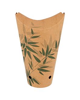 vasos fritas con cierre 'feel green' 22 oz - 660 ml 200 + 25pe g/m2 8,5x18 cm marrÓn cartoncillo (50 unid.)