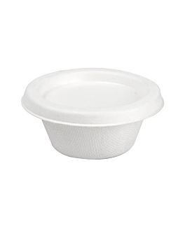 mini terrine + coperchi 'bionic' 60 ml Ø 6,9x3+0,7 cm bianco bagassa (1000 unitÀ)