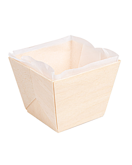 wooden containers + siliconed molds 7x7x5,5 cm natural wood (300 unit)