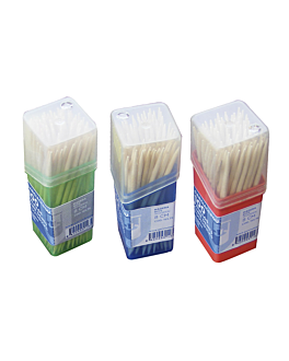 boxes of 100 round toothpicks 6,5 cm natural wood (480 unit)
