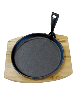 plat campestre + base de fusta Ø 22 cm negre ferro (8 unitat)