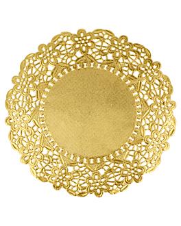 rundes zierdeckchen metallisiert 40 g/m2 + 20 g/m2 Ø 16,5 cm goldfarben lithographie metallisiert (100 einheit)