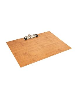 tabla porta menÚ con clip 31,8x22,9x0,4 cm bambÚ (1 unid.)