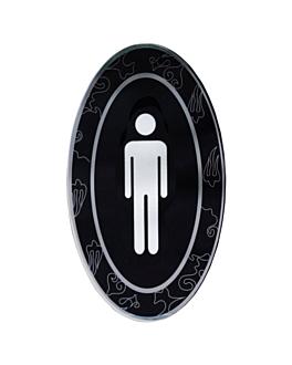 """placa autoadesivas """"homens"""" 12,5x20,5 cm preto acrÍlico (1 unidade)"""