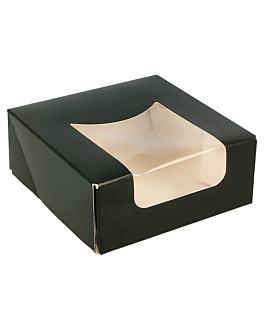 sushi boxes+frontal 275 gsm 10x10x4 cm black cardboard (400 unit)
