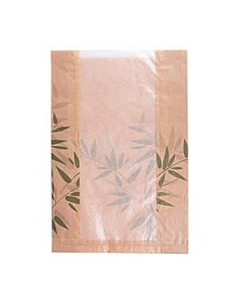 bolsas pan con ventana eco 'feel green' 32 g/m2 26+10x38 cm natural kraft (125 unid.)