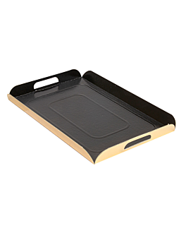 trays with handles 750 gsm 19x28 cm black/gold cardboard (100 unit)