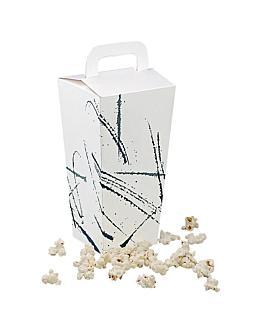 """recipientes pop corns con asa """"volare"""" 90 g 320 g/m2 8x8x20,5 cm blanco cartoncillo (600 unid.)"""
