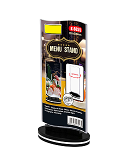 rotating menu stands wavy 10x20 cm clear ps (30 unit)