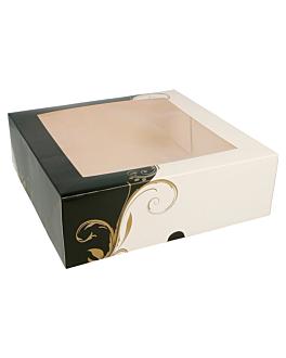 boÎtes pÂtisseries avec fenÊtre 275 g/m2 23x23x7,5 cm blanc carton (50 unitÉ)