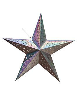 estrella con luz leds Ø 60 cm plateado (10 unid.)