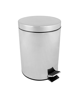 pedal bin with interior receptacle 5 l Ø 20,5x28 cm silver stainless steel (1 unit)