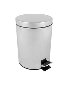 pattumiera a pedale con ricettacolo interiore 5 l Ø 20,5x28 cm argento acciaio inox (1 unitÀ)