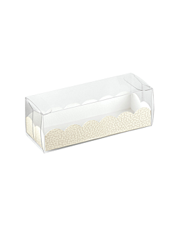pastry cases + cardboard bases 16x5x5 cm clear pvc (200 unit)