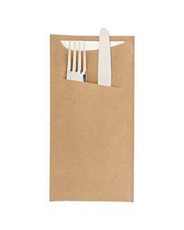 cutlery sachets + napkin 'just in time' 80 + 10pe gsm 11,2x22,5 cm natural kraft ribbed (400 unit)