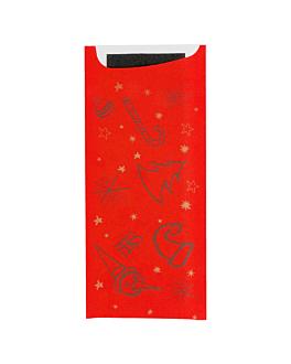 bolsas cubiertos 'just in time - christmas' 90+10 pe g/m2 8,5x19,5 cm negro airlaid (250 unid.)