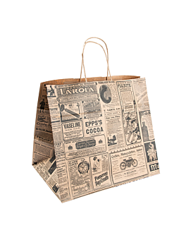 sos bags with handles 'times' 80 gsm 26+14x32 cm natural kraft (250 unit)