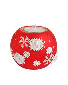 base pour tea-lights 8x8x7 cm rouge verre (4 unitÉ)