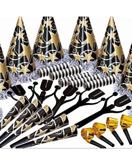 surtido cotillon hologrÁfico 10 personas  negro/oro (1 unid.)