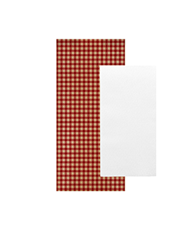 wrapped white napkins 'airlaid' 40x32 cm 'just in time closed' 40 + 10pe gsm 11x25 cm red vichy kraft ribbed (300 unit)