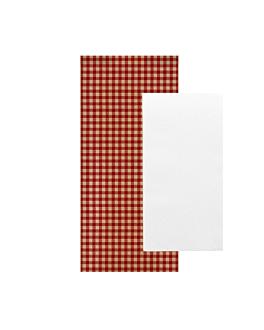serviettes blanches emb. 'airlaid' 40x32 cm 'just in time closed' 40 + 10pe g/m2 11x25 cm rouge vichy kraft vergÉ (300 unitÉ)