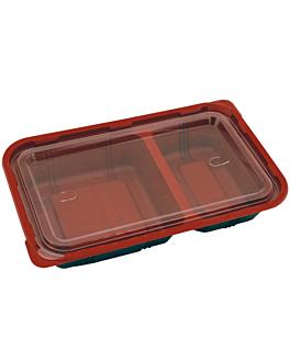 bandejas comida individual apta p/ microondas 23,9x15x4,5 cm preto pp (400 unidade)