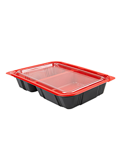 microwaveable individual meal containers 23,9x15x4,5 cm black pp (400 unit)