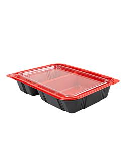 bandejas microondables comida individual 23,9x15x4,5 cm negro pp (400 unid.)